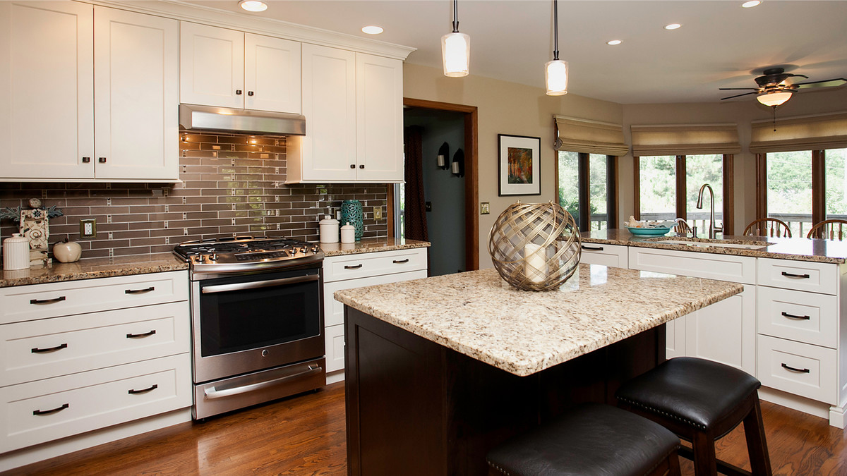 Open inviting kitchen design for Kitchen remodels with white cabinets