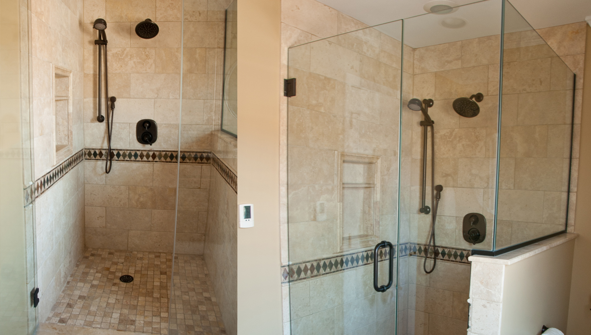 Heavy, Frameless Glass Panels, A Recessed Niche, Tiled Shower Floor And A Hand  Held Shower Head On Slide Bar Are Some Of The Great Features Of This ...