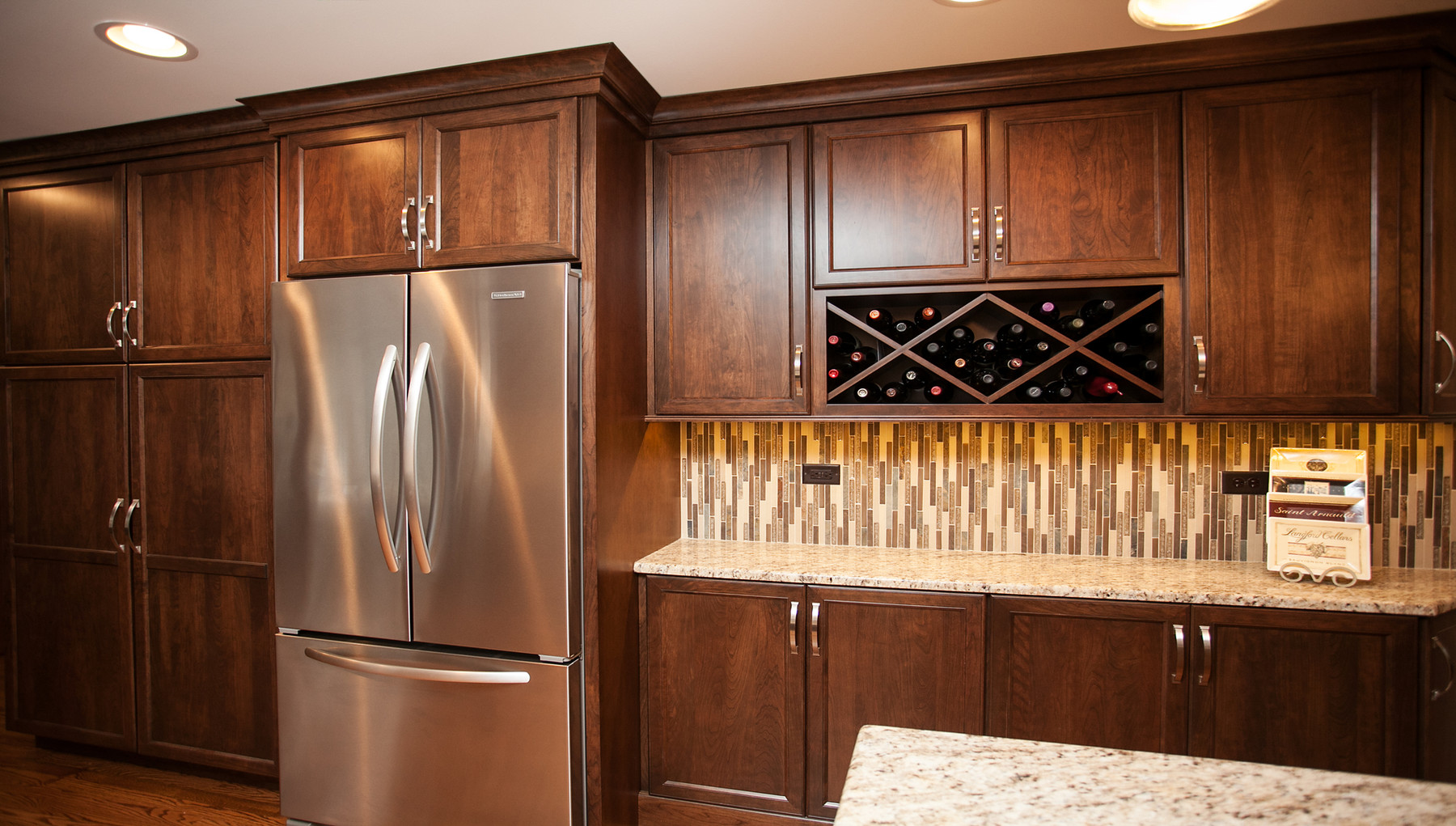 Reduced depth kitchen cabinets - Room Depth Restricted Our Ability To Add A Full Depth Island Instead We Constructed A Slender Island And Reduced The Depth Of The Wall Cabinets To Create