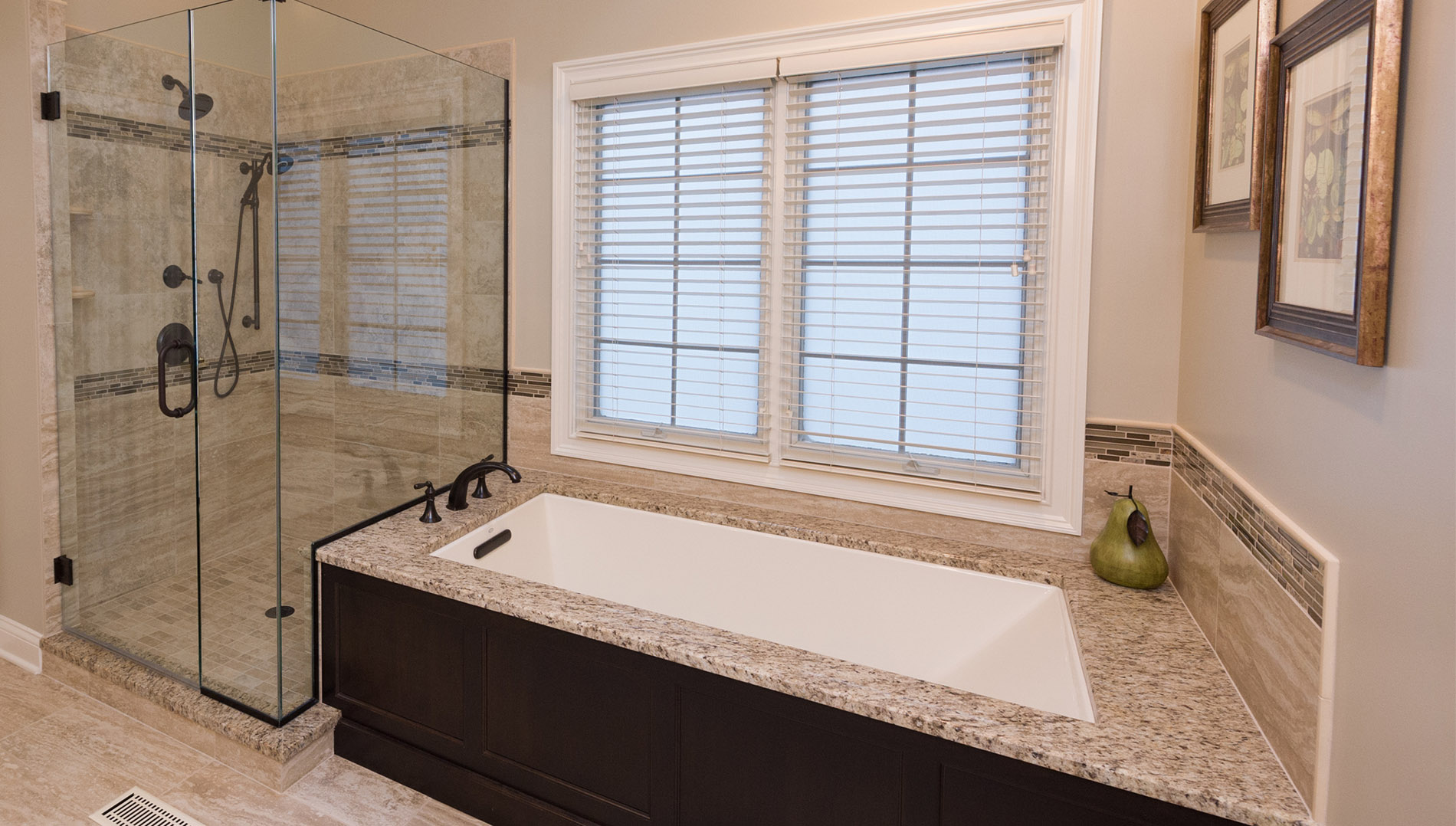 Large soaker tub and roomy walk in shower provide options for the perfect relaxation options.
