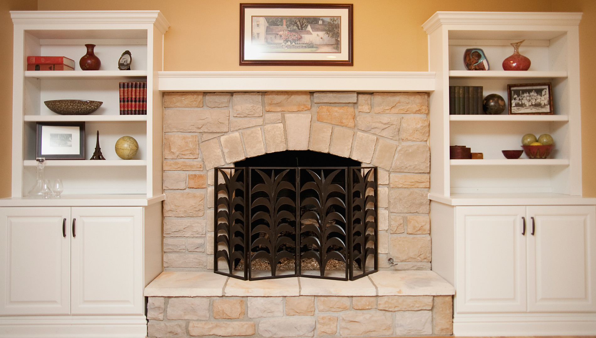 Custom Built Fireplace Naperville. Custom Raised Panel Cabinetry Highlights  A Light And Bright Family Room.