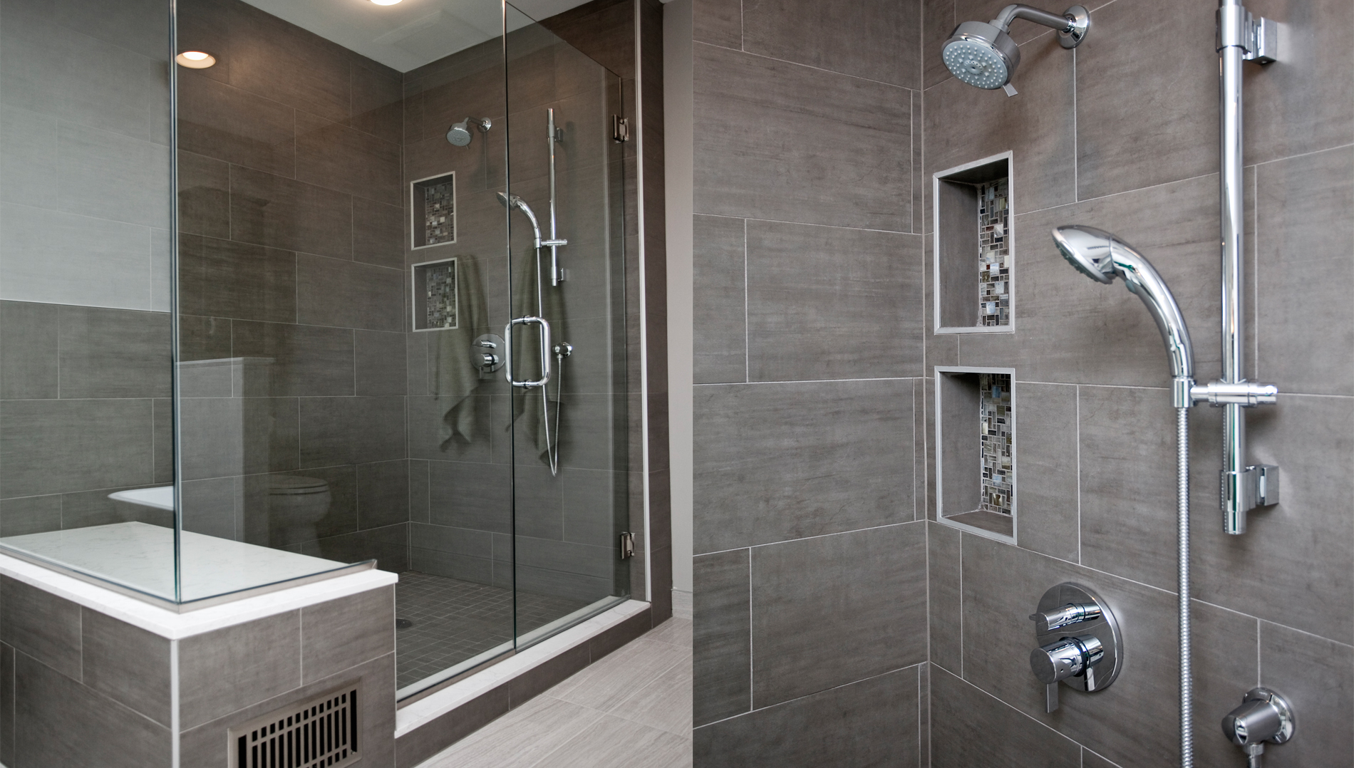 Spacious serene bathroom remodeling Bathroom tile showers