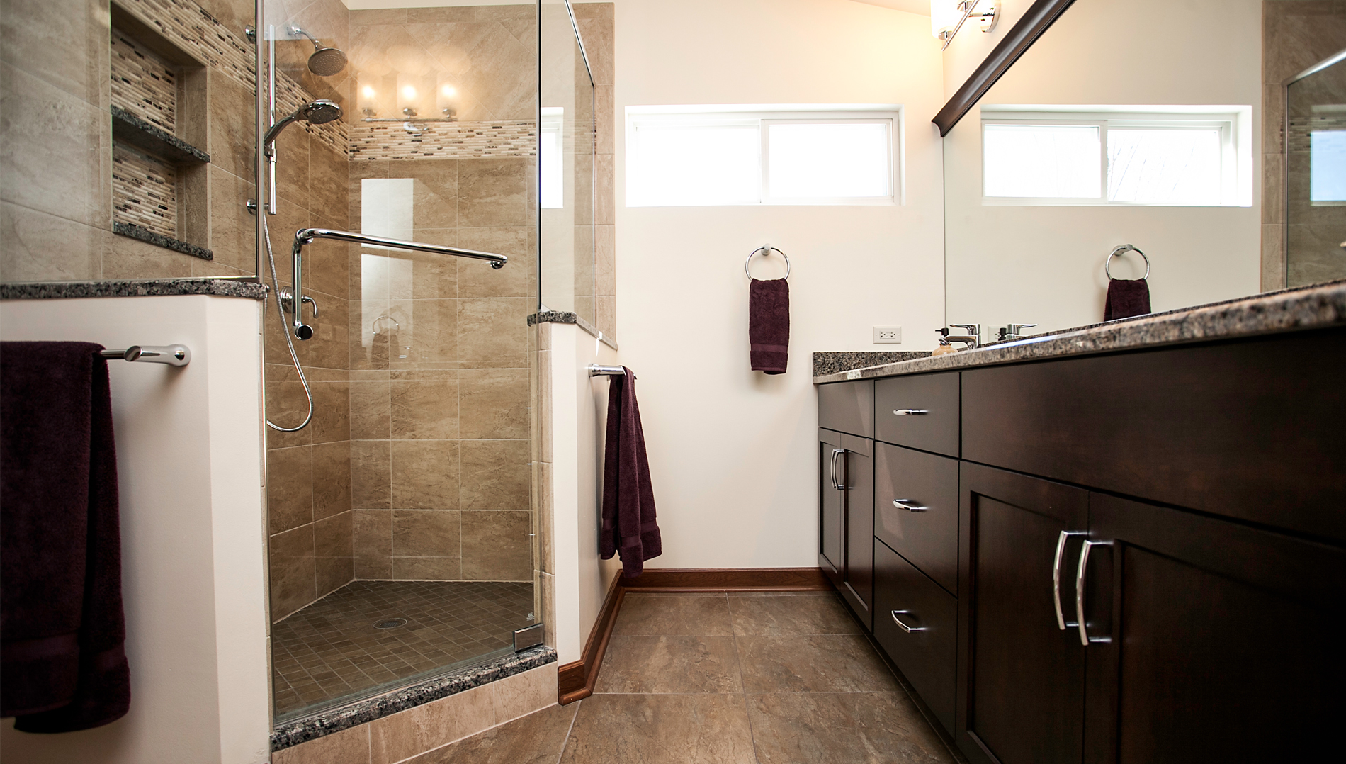 Fabulous functional bathroom remodeling in bolingbrook for Dark wood bathroom designs