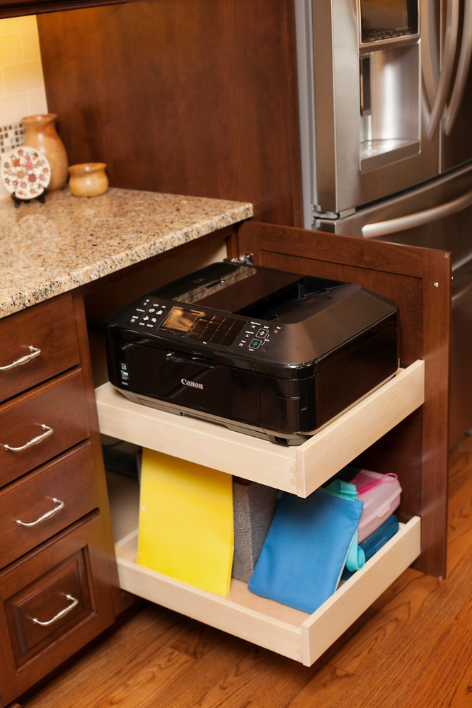 There Was A Desk Next To The Refrigerator That The Homeowners Did Use. The  New Cabinetry Made Way For Office Storage With Roll Out Shelves To House  Their ...