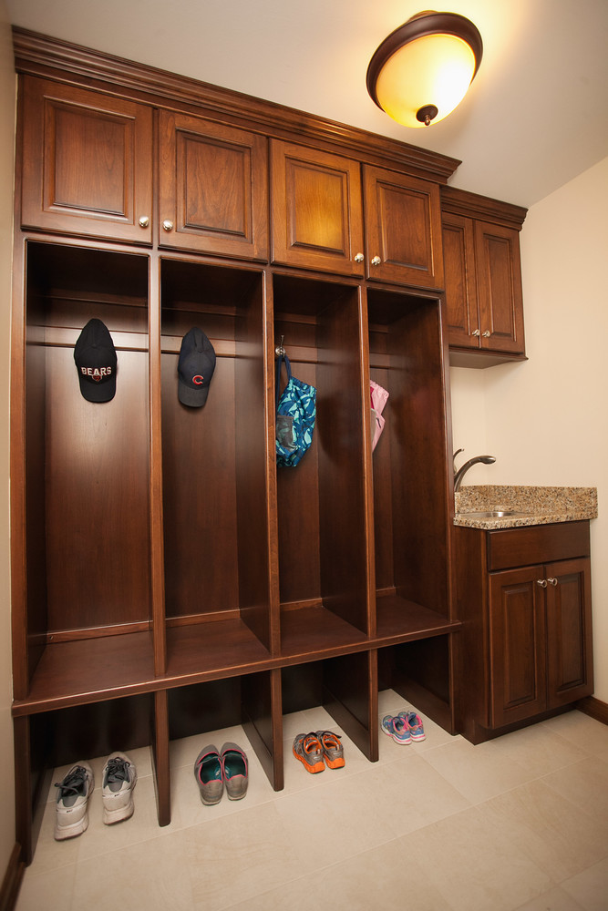 The Mudroom Was Enhanced With New Floor Tile, Updated Utility Sink And  Modern Cubbies In The Same Amish Custom Cabinetry As The Kitchen.