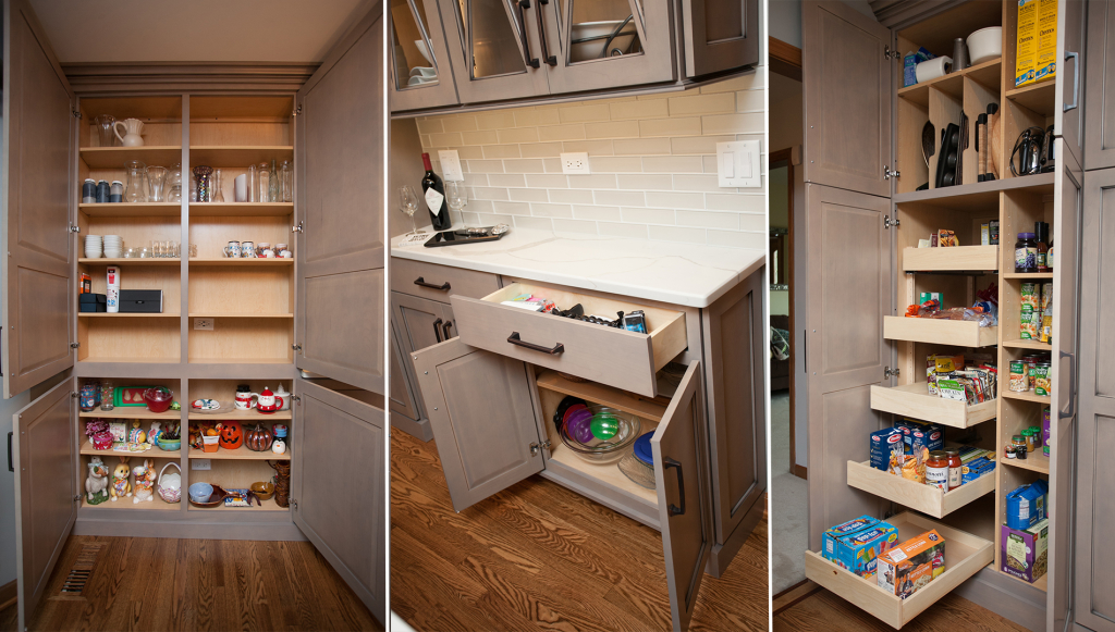 From left to right:  the shallow depth, floor to ceiling 'found storage' pantry in the dining area, more shallow storage beneath the serving area parallel to island, and last is the full depth storage with roll out shelves and custom interior to accommodate a chase in the wall.