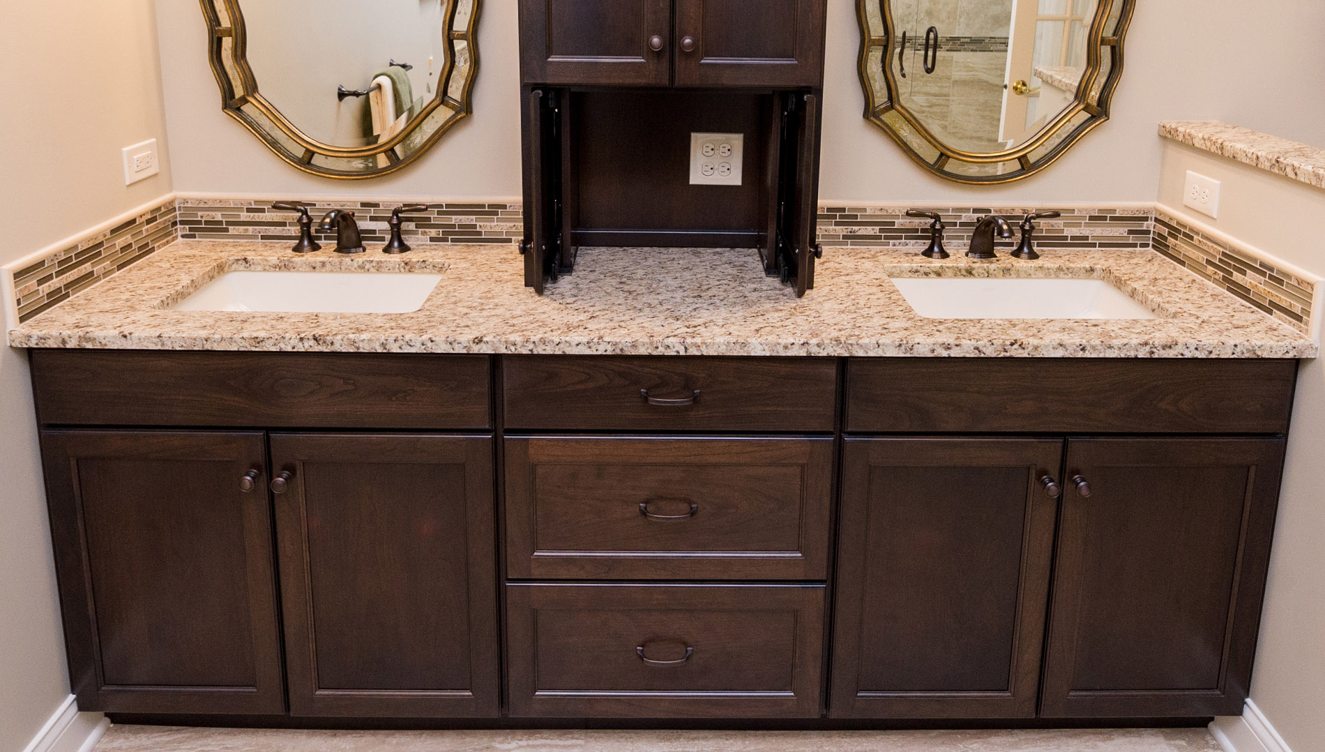 double vanity with storage tower. The large double vanity has ample room for two Besides the tower storage  there deep drawers and roomy cabinetry below rectangular sinks Earth toned elegance fruitesborras com 100 Double Vanity With Storage Tower Images