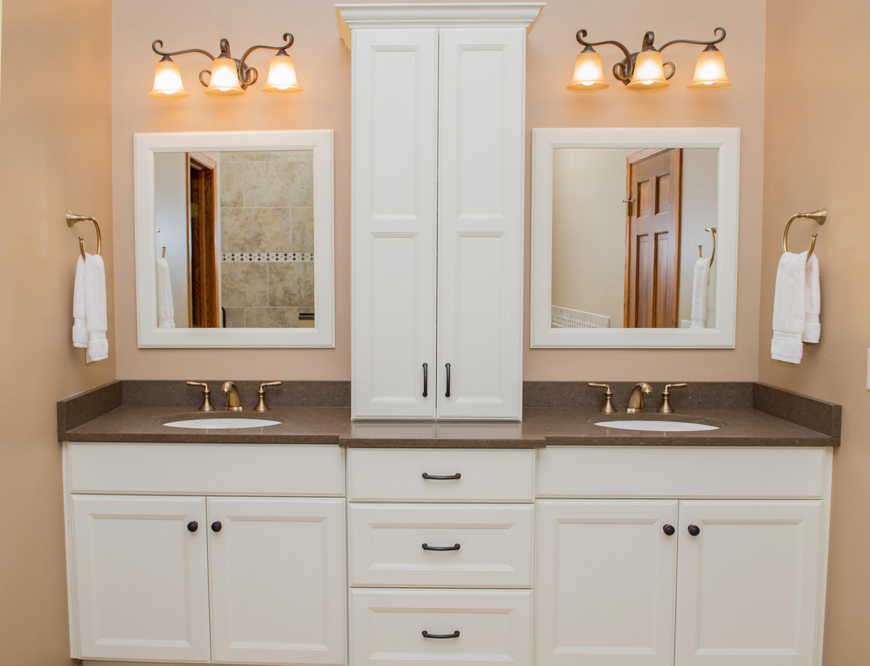 double vanity with storage tower. The Custom Cupboards double vanity En suite elegance in Plainfield  with storage tower fruitesborras com 100 Double Vanity With Storage Tower Images