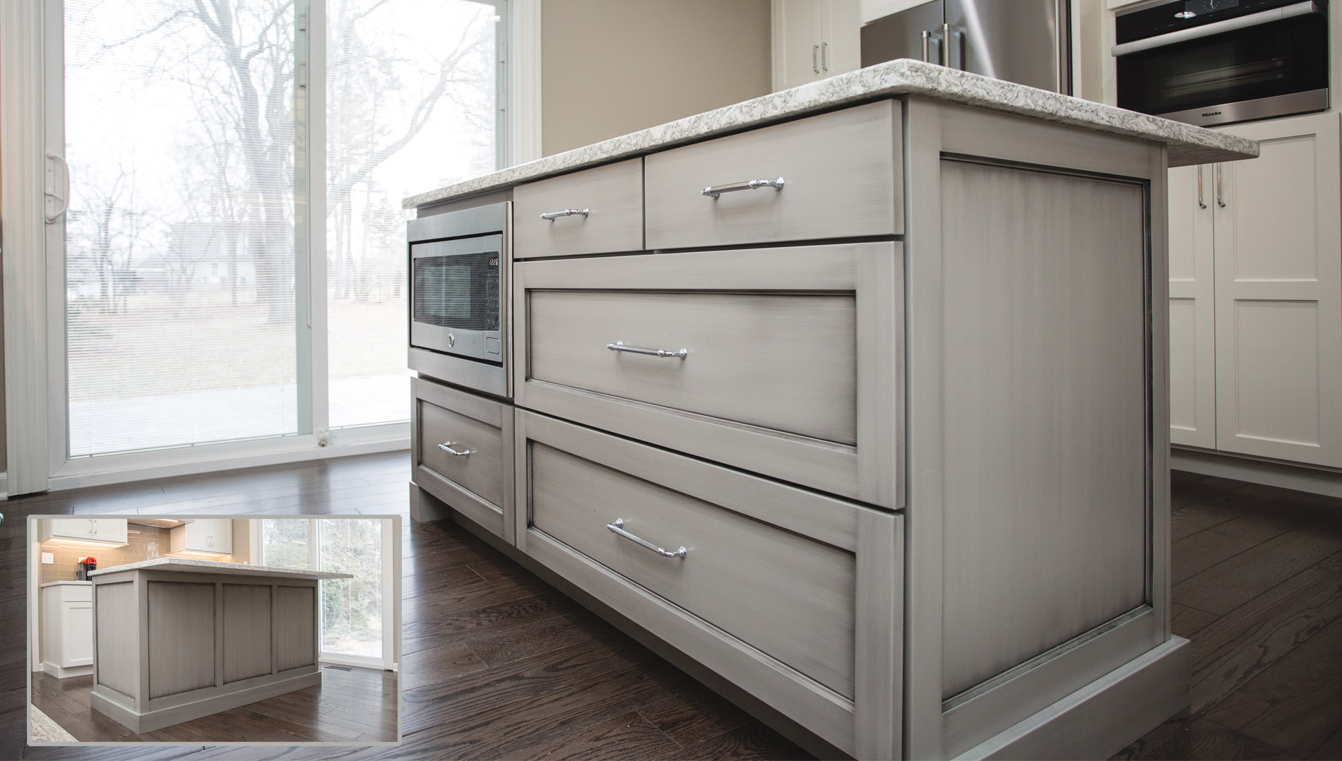 The Rich Warm Grey Tone Of The Island Is Enhanced By An Artistic Glazed  Finish. The Island Is Home To Storage, Seating And A Drawer Style Microwave.